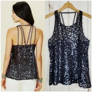 Intimately Free People | Blue Sequin Trapeze Cami